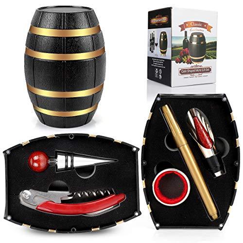 RERXN Set di Accessori da Vino a Forma di Botte di Vino,Accessori per Il Vino Include cavatappi,Tappo per Vino,versatore per Vino (Barrel 02)