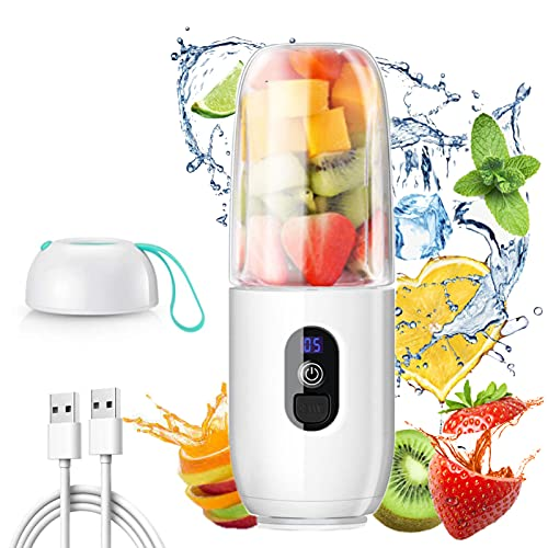 Personal Blender for Shakes and Smoothies - Safety Portable Blender USB Rechargeable with Six Large Blades 150W Handheld Mini Juicer Mixer with 15.56 OZ Travel Cups and Lid for Office Gym Sports Camping (White)