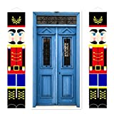 Yopay 2 Pack Nutcracker Christmas Decorations, Outdoor Christmas Porch Welcome Sign, Life Size Soldier Model Nutcracker Banners for Front Door Porch Garden Indoor Exterior Kids Party, 74''×15''