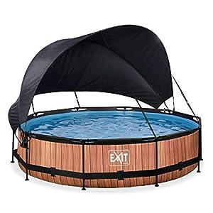 EXIT Piscina de madera, diámetro 360 x 76 cm, con toldo y bomba de filtro, color marrón