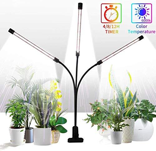 YHX Wachstumslichter Für Zimmerpflanzen Mit Vollem Spektrum, Tri-Head 75W 126LED Pflanzenlichter, 360 ° Schwanenhals- Und Timer-Einstellung 4/8 / 12H, 5 Dimmbare Stufen
