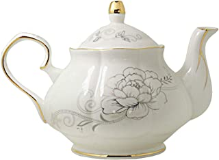 Jomop Ceramic Teapot Floral Design White 855ml About 4 Cups (Gold)