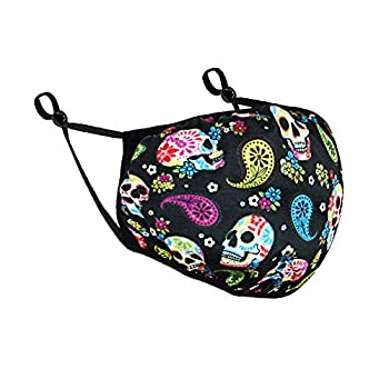 WIRESTER Unisex Cloth Face Mask with Adjustable Ear Loops 2 Layer Fabric Face Cover Fashionable Design - Colorful Sugar Skulls