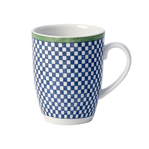 Villeroy & Boch Switch 3 Castell Kaffeebecher, 350 ml, Höhe: 10,5 cm, Porzellan, Weiß/Blau/Grün