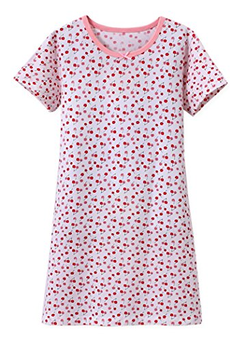 ABClothing Gute Nacht-Nachthemd-Kirschdruck-Weiß 11-12 Jahre des Mädchens