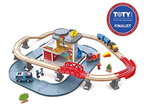 Hape Emergency Services HQ   2-in-1 Police and Fire Station Complete Play Set with Vehicles and Action Figures