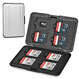 Qkenvo Aluminum Shock Resistant Carrying Box Holder Memory Card Storage Box Case Holder 8 Slots for SD SDHC MMC Micro SD TF Cards Silver