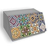 Panera con decoración de Tiles de madera gris 30 x 40 x 20 cm