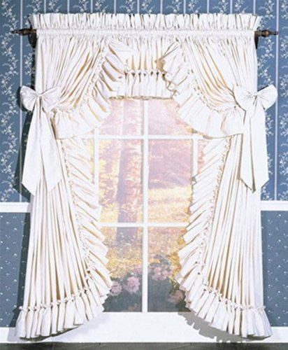 Pauls Home Fashions Carolina Country Priscilla Swag Valance Pair, 135W x 39L White