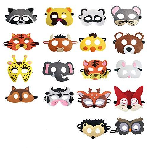Hossom 18 Stücke Tiermasken Filz Masken Kindermasken Partymasken Filz Tier Masks passen für Maskerade Halloween Kindergeburtstag Dress Up Party Supplies