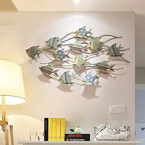 Ybzx Décorations murales de Poisson en métal Décorations d'intérieur en Plein air pour la décoration de la Chambre à Coucher du Jardin à la Maison - Petit 81 * 39cm / Grand 112 * 66cm, Petit 81 *