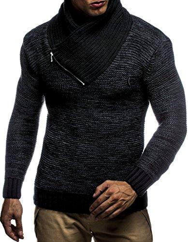 Leif Nelson Herren Strick-Pullover Schalkragen Slim Fit Winter Sommer Moderner Männer schwarzer Pulli T-Shirt Langarm mit Kragen Herren Hoodie-Wollpullover LN7060N Schwarz-Anthrazit Medium