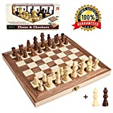 Wooden Chess Set for Kids and Adults, Travel Chess Board Folding Chess and Checkers Set Game Board Interior for Storage - 2 Extra Queens ( 12 x 12 )