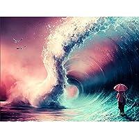 5DDIYダイヤモンドドローイングセットナンバーキットラインストーン刺繡クロスステッチキットアートクラフト壁飾りフレームレス-波の下の人々-40x50cm