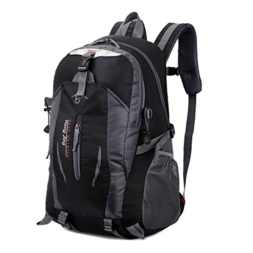 Travel Backpack, Outdoor Waterproof Sports Travel Camping Mountaineering Backpack Shoulders Bag Black 52cm x 33cm x 18cm