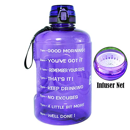 BuildLife Gallon Motivational Water Bottle Wide Mouth with Time Marker/Flip Top Leakproof Lid/One Click Open/Large BPA Free Capacity for Fitness Goals and Outdoor(Light Purple, 1 Gallon)