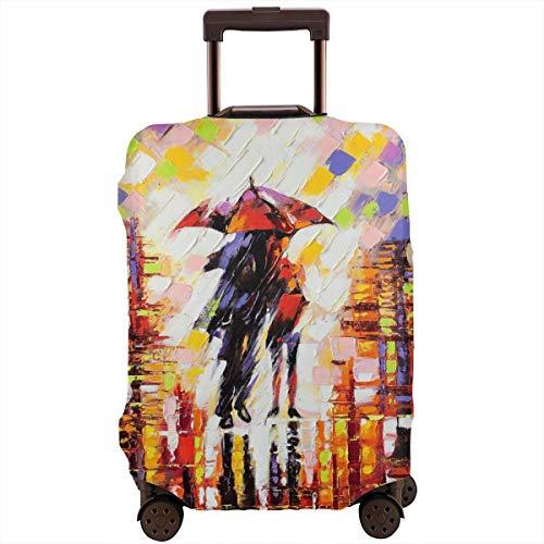 Reiskoffer beschermer, douchegordijn schattig paar op een regenachtige dag penseelstreek aquarel kleurrijke paraplu schaduw emotionele romantiek avond, koffer cover wasbare bagage cover
