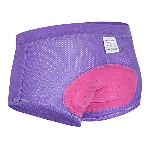 WOSAWE Damen Radunterwäsche gepolsterte Shorts atmungsaktiv MTB Fahrrad Slip -  Violett -  Large
