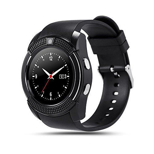 INDI V8 Reloj Smartwatch Bluetooth Smartwatch Reloj deportivo Tarjeta SIM y tarjeta TF Cámara con podómetro, Sleep, Calorías para Samsung Sony Huawei Android mujer Hombre Niño (Negro)