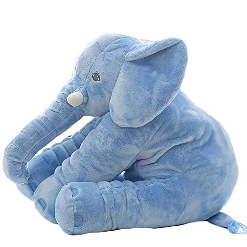 H.BABY Soft Stuffed Elephant Shape Plush Cotton Cushion Pillow for Baby(Blue)