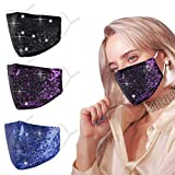 Purple Cloth Face Mask Washable Reusable fabric Decorative Party Glitter Bling Rhinestone diamond Sparkly Sequin with Design Breathable Decorative Party Face Covering Adjustable mascarillas Summer
