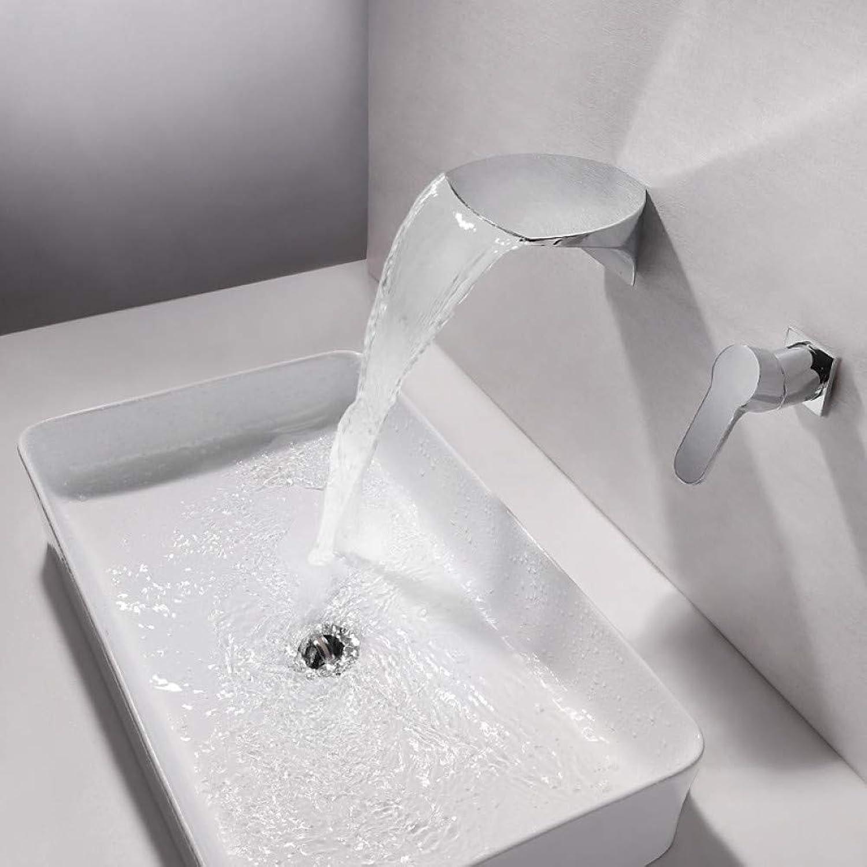 RNJDC Waschtischarmatur Bad Waschbecken Wasserhahn - Wasserfall Verbreitet Chrom Wandmontage Einhand Zwei Lcher Badarmaturen