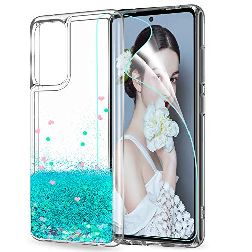 LeYi per Cover Samsung Galaxy A52 5G 4G Custodia Glitter con HD Pellicola Protettiva, Brillantini Silicone Sabbie Mobili Antiurto Bumper TPU Case Donna Ragazza per Samsung Galaxy A52 Turquoise