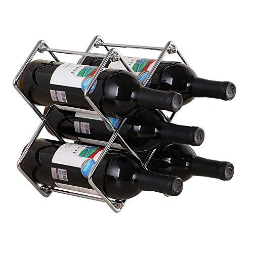Z&HAO Botellero De Metal, Botellero De Pie, 5 Botellas Apilables, Organizador De Cocina Totalmente Montado, Soporte De Almacenamiento para La Decoración del Bar del Hogar,Plata