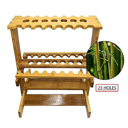 XZYY Portastecche da Biliardo Supporto in Legno bambù-Porta Stecche Biliardo Segnapunti,23 Buche di Grande capacità,Biliardo Accessorio -Ottimo Acquisto per Un Giocatore