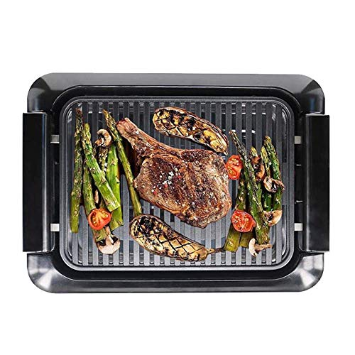 Gril de Barbecue intérieur Portable Polyvalent Grils électriques antiadhésifs sans fumée extérieurs Bac de récupération de Graisse à contrôle de température à 5 Niveaux et poignées Cool Touc