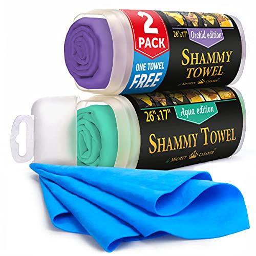 "Premium Chamois Cloth for Car - 2pack + 1 Bonus Car Shammy Towel - 26""x17"" - Super Absorbent Reusable Shammy Cloth for Car - Scratch-Free"
