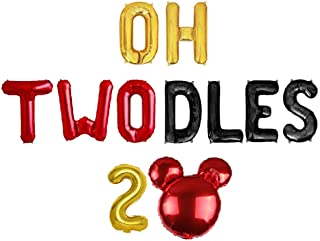 Geloar Oh Twodles Birthday Party Supplies, Oh Twodles Balloons Birthday Banner Number 2 Balloon for 2nd Second Girl Boy Mi...