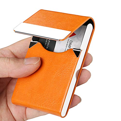 DMFLY Professional Leather Business Card Case Slim Business Card Holder, Stainless Steel Card Holder, Keep Business Cards in Immaculate Condition, Orange -SJ