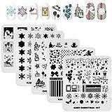 KADS 5 placas de estampado de uñas navideñas,...