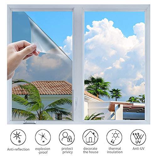 h Sonnenschutzfolie Selbstklebend Fenster Fensterfolie Verdunkelungsfolie Wärmeisolierung 99% Anti-UV Blickdichte Sichtschutz Folie für Fenster Haus Büro Geschäft (Silber, 90 x 400 cm)