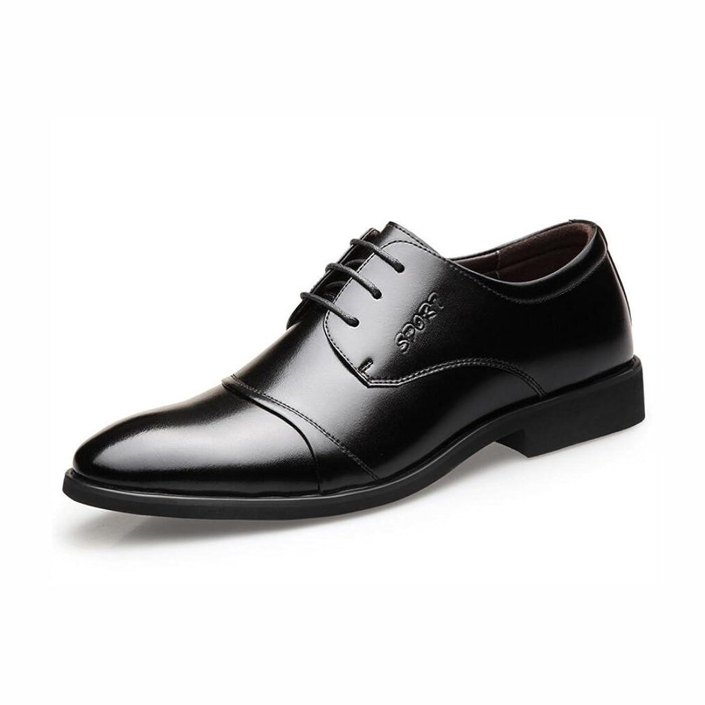 作詞家インフルエンザアイザックメンズフォーマルシューズ、春の秋の革の靴、ビジネスシューズをレース、尖ったつま先の靴、オフィスで一日のための完璧な,Black,44