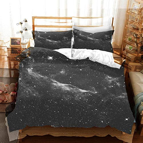 FOssIqU Funda edredón Infantil 3D 260x240cm Paisaje de Cielo Estrellado Hogar Dormitorio Infantil niño niña Dormitorio patrón de impresión 3D algodón Puro Transpirable Super Suave 3 futón