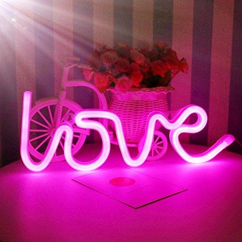 Nordstylee Letreros de luz de neón con luces LED de amor nocturno, luces decorativas para regalo de niños, decoración de pared/habitación, fiesta de cumpleaños, Navidad, decoración de boda (rosa)