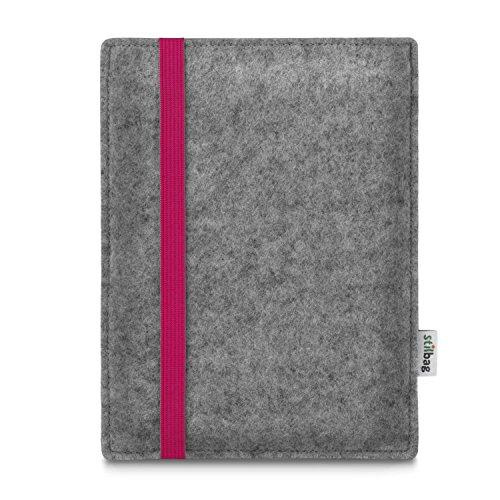 stilbag e-Reader Tasche Leon für Amazon Kindle Oasis (9. Generation) | Wollfilz hellgrau - Gummiband pink | Schutzhülle Made in Germany