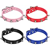 Kasyat 4 Pieces Spiked Studded Cat Collar Artificial Leather Pet Collars Adjustable Studded Cat Collar with Spikes for Small Dogs Puppy (Black, Blue, Red, Pink)