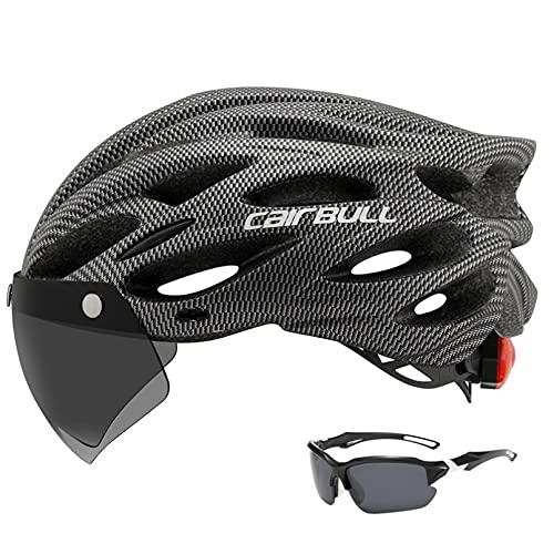 Casco de bicicleta de montaña para hombre y mujer, casco de ciclismo con luz trasera, protección de seguridad deportiva, gafas extraíbles y depurables, cómodas y ligeras