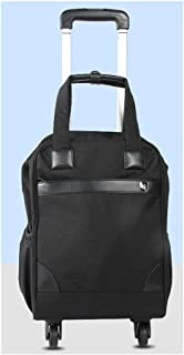 GLJJQMY Travel Bag Backpack Men and Women Travel Waterproof Oxford Budden Chassis Business Pull Xuan Backpack Universal Wheel Trolley Backpack (Color : Black)