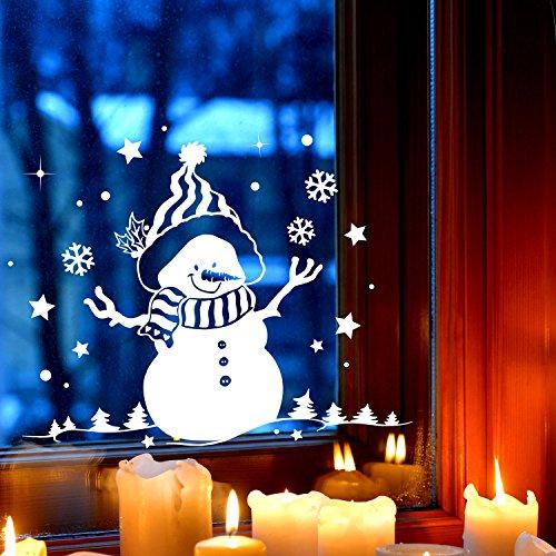 ilka parey wandtattoo-welt Fensterbild Schneemann & Bäume Fensterbilder Fensterdeko Winterlandschaft 40x31cm + Sterne & Schneeflocken selbstklebend für Kinder M2257