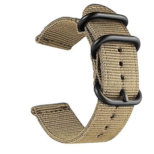 XIALINR Banda de Reloj de Lona de Nylon Lavable, Ancho de Banda: 20mm Reloj de Moda (Color : Army Green with Silver Ring Buckle)