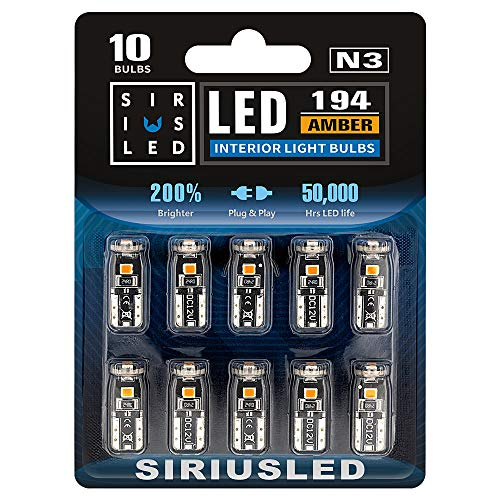 SIRIUSLED -N3- 194 LED Bulbs Extremely Bright 3030 Chipset for Car truck Interior Dome Map Door Courtesy Marker License Plate Lights Compact Wedge T10 168 2825 Amber Orange Yellow Pack of 10