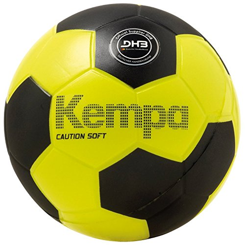 Kempa Soft Caution Handball, schwarz/Fluo gelb, One Size