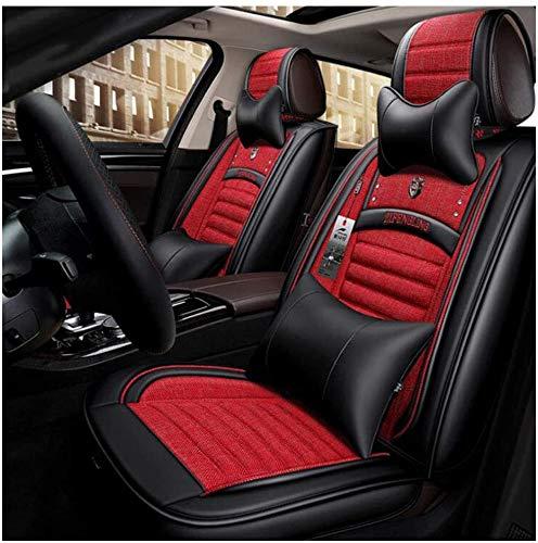 LUOLONG lederen autostoelhoezen, universele boekweitschaal autostoelhoezen complete set voor 5 zitplaatsen, op maat gemaakte stoelhoezen Rood