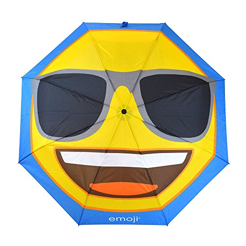emoji Official Brand Sunglasses Umbrella Windproof, Premium Quality Waterproof Protection, Lightweight, Heavy Duty, Compact 3 Folding. The Best Travel Umbrella, 39 Inch Open Kids Umbrella Or Adult