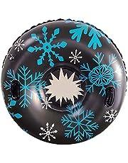 HongYa Skidcirkel med handtag uppblåsbar skidcirkel av snö tub skidåkning förtjockad storlek cirkel snö vatten skidor vinter slädar skidåkning del-svart