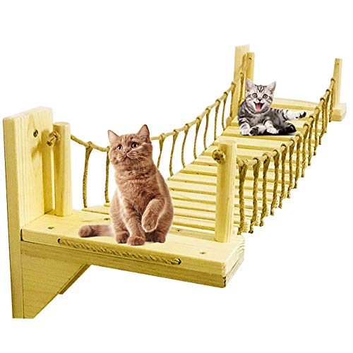 PLAFUETO Wooden Wall-Mounted Cat Bridge with 2 Fixed Brackets Cat Perch Cat Mod Cat Condo Kitty Activity Furniture Cat Climber Tree Tower Cat Cloud Shelf Board